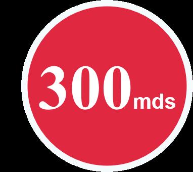 rond de couleur rouge présentant 300 milliards