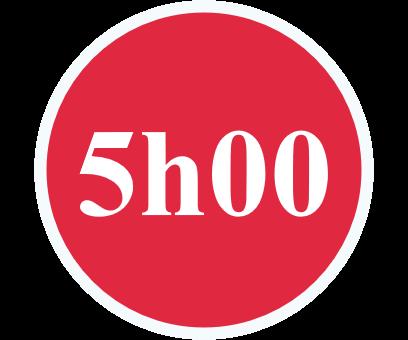rond de couleur rouge présentant 5h00