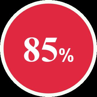 rond de couleur rouge présentant 85%